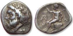 Ancient Coins - AR triobol Arkadia, Megalopolis 325-270 B.C. - rare first issue of Megalopolis -