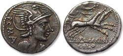 Ancient Coins - AR denarius L. Flaminius Chilo, Rome 109-108 B.C. -- superb gold irridescent toning --