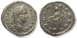 Ancient Coins - AR denarius Caracalla, Rome 206-210 A.D. -- LIBERTAS AVG, beauty --