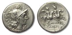 Ancient Coins - AR Denarius M. Atilius Saranus, Rome 148 B.C. - variety with SARAN upwards on obverse instead of downwards -