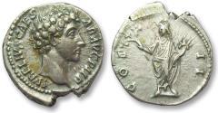 Ancient Coins - AR denarius Marcus Aurelius as Caesar, Rome 145-147 A.D. -- great toning & superb portrait --