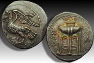 Ancient Coins - AR nomos Bruttium, Kroton 350-300 B.C. - beautiful artistic type, scarce/rare in this great condition -