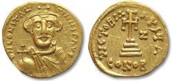 Ancient Coins - AV/AU gold solidus Constans II, Constantinople 650-651 A.D.