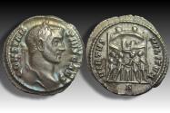 Ancient Coins - AR argenteus Constantius I as Caesar, Rome mint circa 295-297 A.D. - beautifully toned -