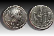 Ancient Coins - AR denarius C. Norbanus, Rome 83 B.C. -- the scarcer type with additional prow symbol --