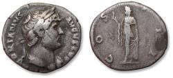 Ancient Coins - AR denarius, Hadrian / Hadrianus. Rome mint 125-128 A.D. - COS III, Spes walking left -