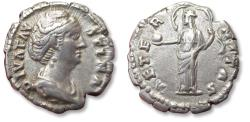Ancient Coins - AR denarius, DIVA Faustina Senior. Rome mint after 141 A.D. - AETERNITAS, Aeternitas (or Providentia) with billowing veil