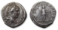 Ancient Coins - AR denarius Geta as AUGUSTUS. Rome mint 209-211 A.D. - TR P III COS II PP. Providentia standing left -