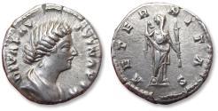 Ancient Coins - AR denarius DIVA Faustina II Junior, Rome mint circa 176 A.D. - AETERNITAS -