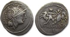 Ancient Coins - AR Denarius, M. Servilius / Serveilius C.f., Rome 100 B.C. - control letters E on obverse and L on reverse -