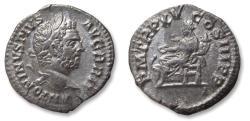 Ancient Coins - AR denarius, Caracalla, Rome mint 212 A.D. - P M TR P XV COS III P P, Salus seated left -
