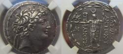 Ancient Coins - AR tetradrachm Antiochus VIII Epiphanes-Grypus, Ake-Ptolemais, sole reign, 121-113 B.C - NGC XF 5/5 3/5
