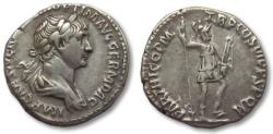 Ancient Coins - AR denarius Trajan / Trajanus, Rome 114-117 A.D. -- Virtus standing right --