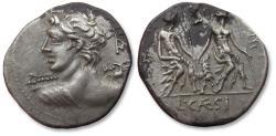 Ancient Coins - L. Caesius. AR Denarius, Rome 112-111 BC - some black encrustation, but sharply struck! -