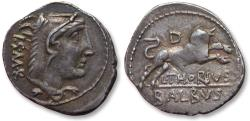 Ancient Coins - AR denarius, L. Thorius Balbus, Rome 105 B.C. - interesting piece w clearly visible weight adjustment marks on rev (= result of Al Marco method) -