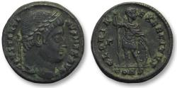 Ancient Coins - AE follis Constantine I The Great, Constantinople 328 A.D. -- emperor with shield & spear --