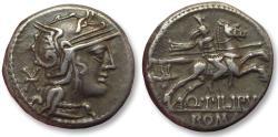Ancient Coins - AR Denarius, Q. Marcius Philippus, Rome 129 B.C. - great even toning -