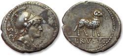 Ancient Coins - AR Denarius, L. Rustius. Rome 76 B.C. - Ram standing right -