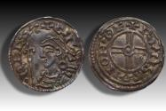 World Coins - Short cross type AR penny Cnut the Great - THETFORD mint 1029-1035 A.D. - moneyer RVNSTΛN (= variety writing for BRVNSTΛN)