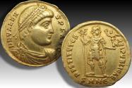 Ancient Coins - AV gold solidus emperor Valens, Nicomedia mint circa 364-378 A.D. - mintmark SMNE (5th officina)