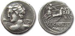 Ancient Coins - AR Denarius, C. Licinius L.f. Macer. Rome 84 B.C.