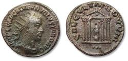 Ancient Coins - AR or BI antoninianus Volusian / Volusianus. ANTIOCH mint 251-253 A.D. - SAECVLLVM NOVVM, variety with 3 dots in exergue