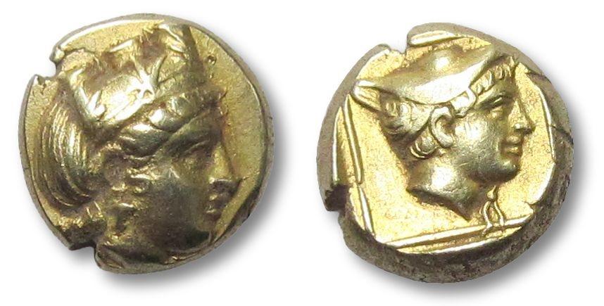 Ancient Coins - EL Hekte Lesbos, Mytilene 412-378 B.C. --KYBELE and HERMES dual portrait--