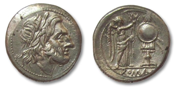 Ancient Coins - HS: AR victoriatus, anonymous issue 211-208 B.C.