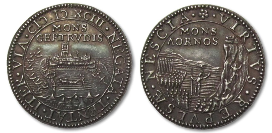 World Coins - SPANISH NETHERLANDS AR silver jeton 1593: the siege and capture of Geertruidenberg by Prince Maurice
