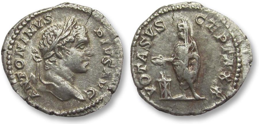 Ancient Coins - AR denarius Caracalla, Rome 207-208 A.D. - rare with VOTA SVSCEPTA XX, instead of just X -