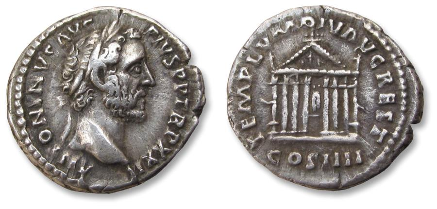 Ancient Coins - AR denarius Antoninus Pius - restoration of the 2nd temple for Divus Augustus - Rome mint 159 A.D. - TEMPLVM DIV AVG REST, octastyle temple -