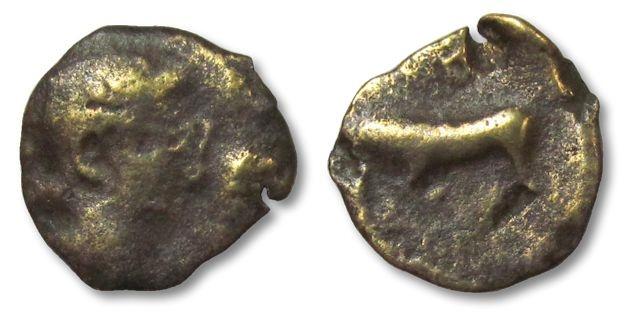 Ancient Coins - MO: AE15 (quadrans?) Augustus, struck in Gaul under Germanus Indutilli Libertus