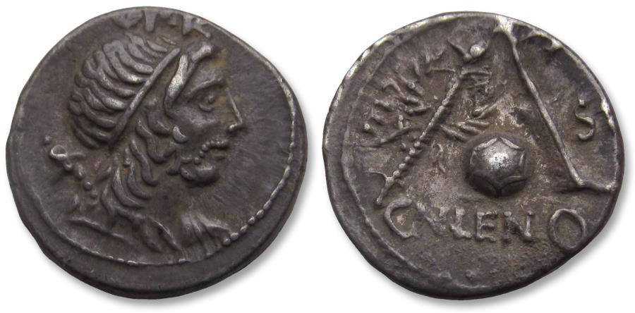 Ancient Coins - AR denarius, Cn. Cornelius Lentulus. Rome 76-75 B.C.