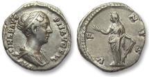 Ancient Coins - AR denarius Faustina II Junior, Rome 147-150 A.D. -- struck under Antoninus Pius --