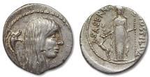 Ancient Coins - AR denarius L. Hostilius Saserna, Rome 48 B.C. --Head of female Gaul right--