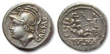Ancient Coins - AR denarius L. Iulius / Julius L.f. Caesar, Rome 103 B.C. -- beauty --