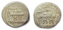 Ancient Coins - HS: AR denarius Q. Pompeius Rufus, Rome 54 B.C.