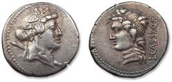 Ancient Coins - AR Denarius, L. Cassius Longinus. Rome 78 B.C. - beautiful example of this type -