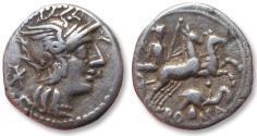 Ancient Coins - AR denarius, L. Caecilius Metellus Diadematus, Rome 128 B.C.