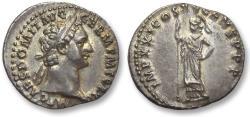 Ancient Coins - AR denarius Domitian / Domitianus, Rome 90-91 A.D. -- superb coin & gold toning --