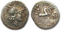 Ancient Coins - AR denarius M. Tullius, Rome 120 B.C.
