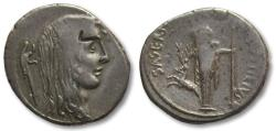 Ancient Coins - AR Denarius, L. Hostilius Saserna, Rome 48 B.C. - Head of female Gaul right -