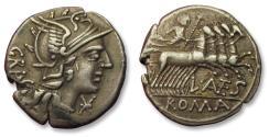 Ancient Coins - AR denarius L. Antestius Gragulus, 136 B.C. - from an old Dutch collection -