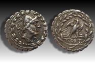 Ancient Coins - AR denarius L. Aurelius Cotta, Rome 105 B.C. -- control letter S on obverse --