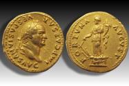 AV gold aureus Vespasian / Vespasianus, Rome mint 74 A.D. - FORTVNA AVGVST, Fortuna standing left on garlanded base -