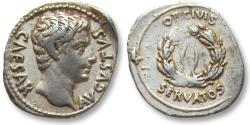 Ancient Coins - AR denarius Octavian as Augustus, Colonia Patricia, 19 B.C. -- OB CIVIS SERVATOS --