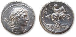 Ancient Coins - AR denarius P. Crepusius, Rome 82 B.C. - very short control numeral XV, in near mint state -