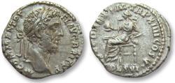 Ancient Coins - AR denarius Commodus, Rome 189 A.D. -- BRIT title, Securitas seated left on reverse --