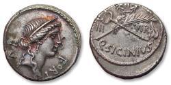 Ancient Coins - AR Denarius, Q. Sicinius. Rome 49 B.C. - sharply struck & great toning -