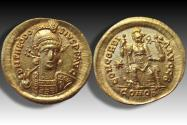 Ancient Coins - AV gold solidus Theodosius II. Constantinople 408-420 A.D. -- near mint state --